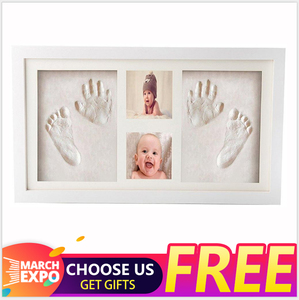 Amazon hot DIY Premium New Baby Handprint and Footprint Clay Frame Casting Kit Wooden Picture Photo Frame for Baby Gifts