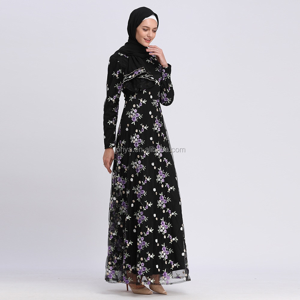 2019 wholesale in stock muslim maxi dress floral embroidery mesh with lining women dress abaya
