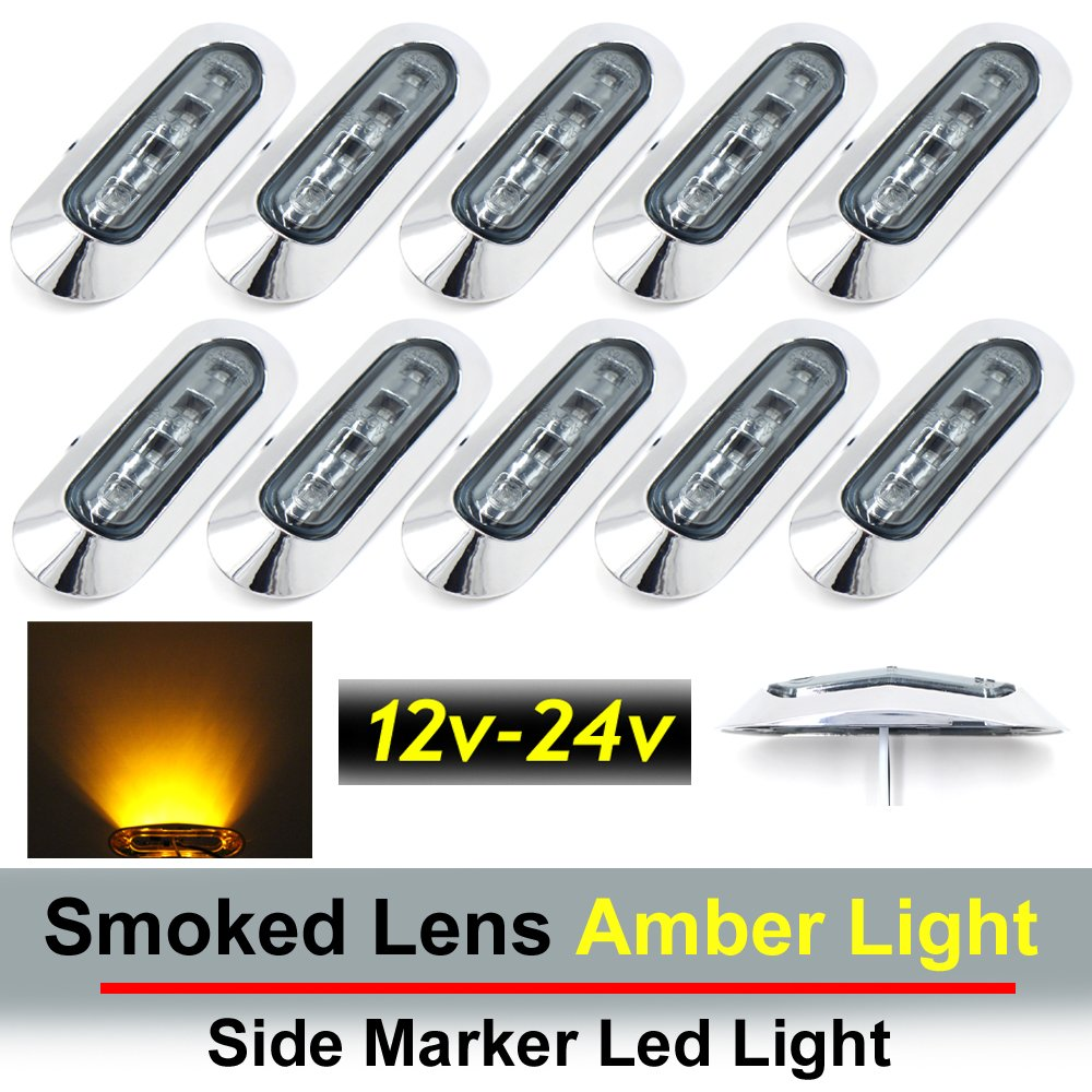 "10 pcs TMH 3.6"" submersible 4 LED Smoked Lens Amber Light Side Led Marker 10-30v DC , Truck Trailer marker lights, Marker light amber, Rear side marker light, Boat Cab RV"