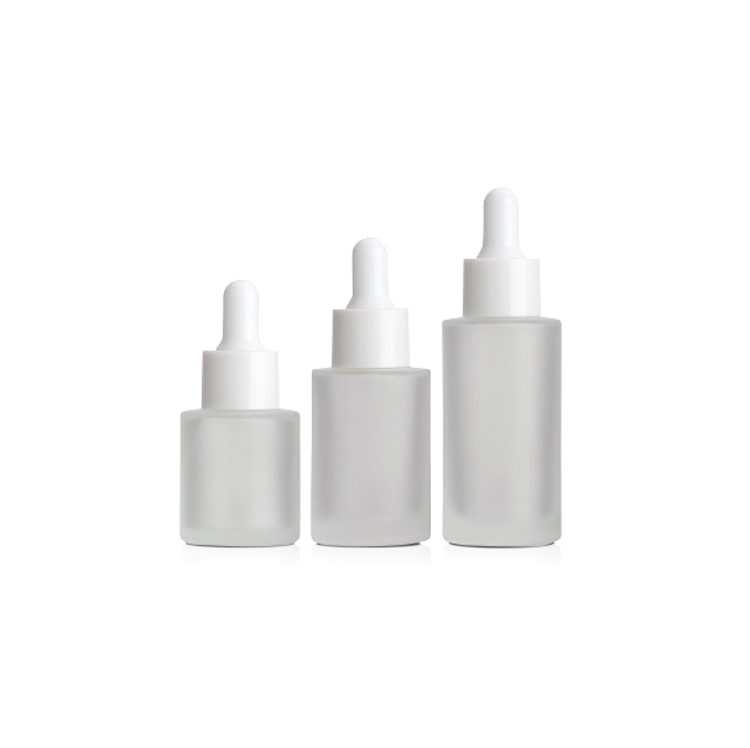 Matt cosmetic 15ml 30ml 40ml amber flat shoulder frosted clear glass dropper bottle for essential <strong>oil</strong>