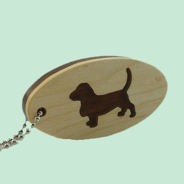 Handcrafts Resin Filled Basset Hound Keychain Wholesale