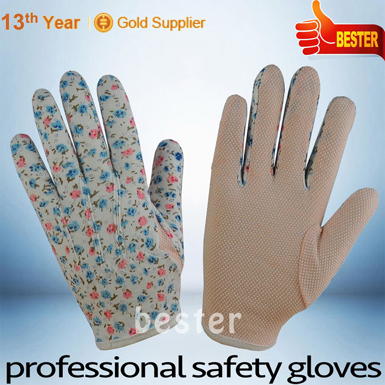 Low price best quality cotton liner winter pvc glove
