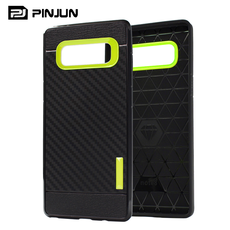 2in1 tpu pc amor case note 8,carbon fiber rubber anti radiation phone bag for samsung galaxy note 8