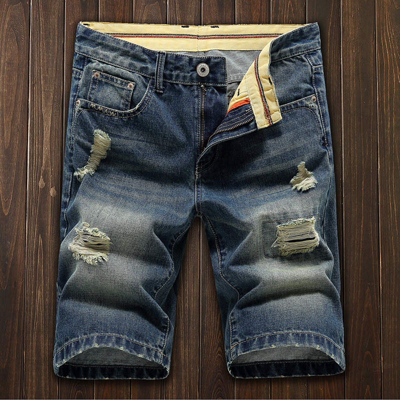 Best Selling Premium Match Cargo Shorts Men Half Pants Fashion Ripped Jeans фото