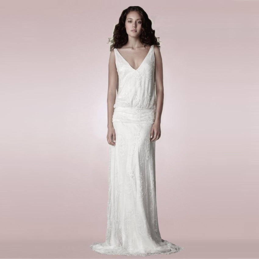 Beach Spaghetti Strap Wedding Gown: Sexy Floor Length V Neck Spaghetti Straps Lace Beach
