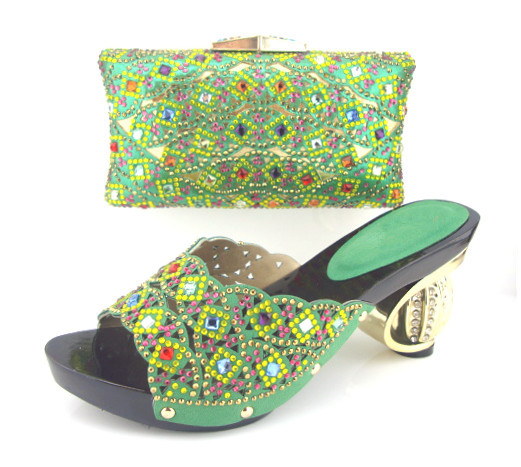 SZ17-6Green !! New arrival Italian shoes with matching bags for wedding !! italian shoe bag set with stone Free shipping
