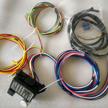 12v 12 circuit universal auto complete replacement wiring harness fuse box  for street hot rat rod