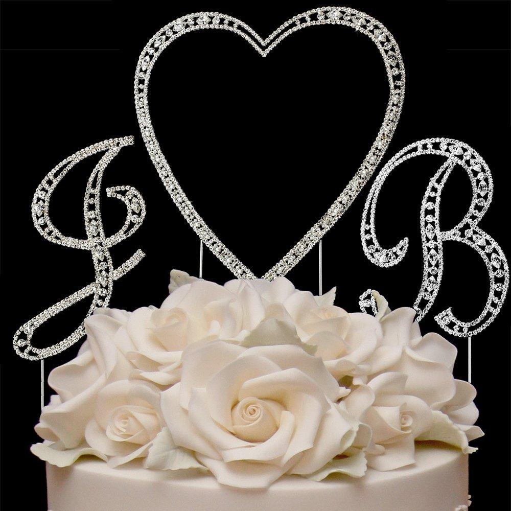 RaeBella Weddings Silver Vintage Style Swarovski Crystal Monogram Heart Wedding Cake Topper 3pc Letter Initial Set + White Metal LOVE Design Frame