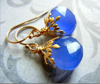 Direct Factory Price Royal Blueberry Faceted Teardrop Gold Earrings