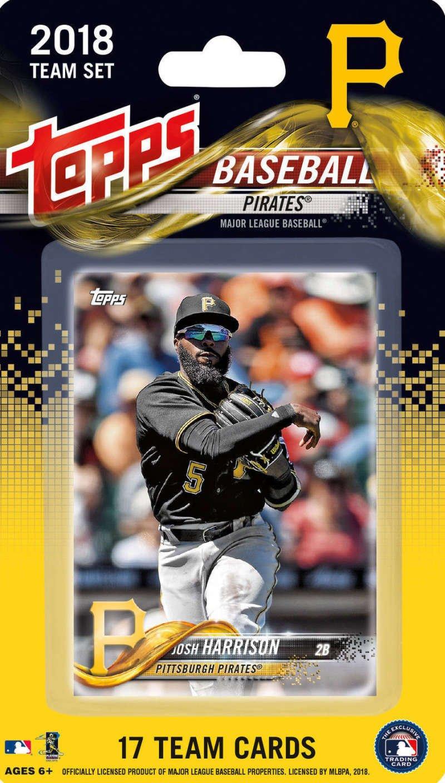2018 Topps Baseball Factory Pittsburgh Pirates Team Set of 17 Cards which includes: Josh Harrison(#PI-1), Felipe Rivero(#PI-2), Trevor Williams(#PI-3), Chad Kuhl(#PI-4), Ivan Nova(#PI-5), Starling Marte(#PI-6), Gregory Polanco(#PI-7), Jordy Mercer(#PI-8), Sean Rodriguez(#PI-9), Tyler