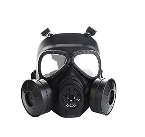 Airsoft Masker Outdoor Sport Tactical Paintball masker Full Face Schedel CS Masker Met dubbele filter fan CS editie Transpiratie Stof