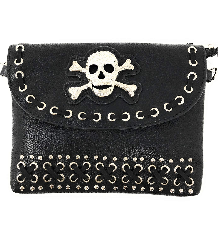 0383852525 Get Quotations · Metal Skull Crossbody Mini Messenger Bag Crossbody Handbag  In Black