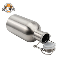 High Quality Stainless Steel 304 64oz Mini Beer Growler 2L Beer Bottle Saver Flip Cap Keg for Home Brewing