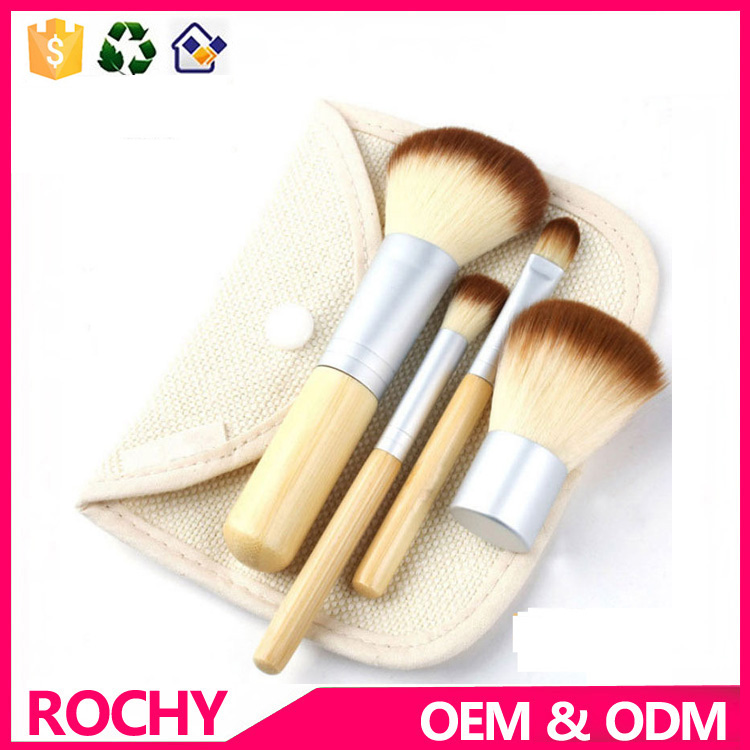 4 pcs Eco Bamboo Handle Synthetic Hair Makeup Brush Set