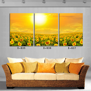 beautiful bright wall mural original paintings for sale 3 panel sunflower field in sunshine scenery cheap