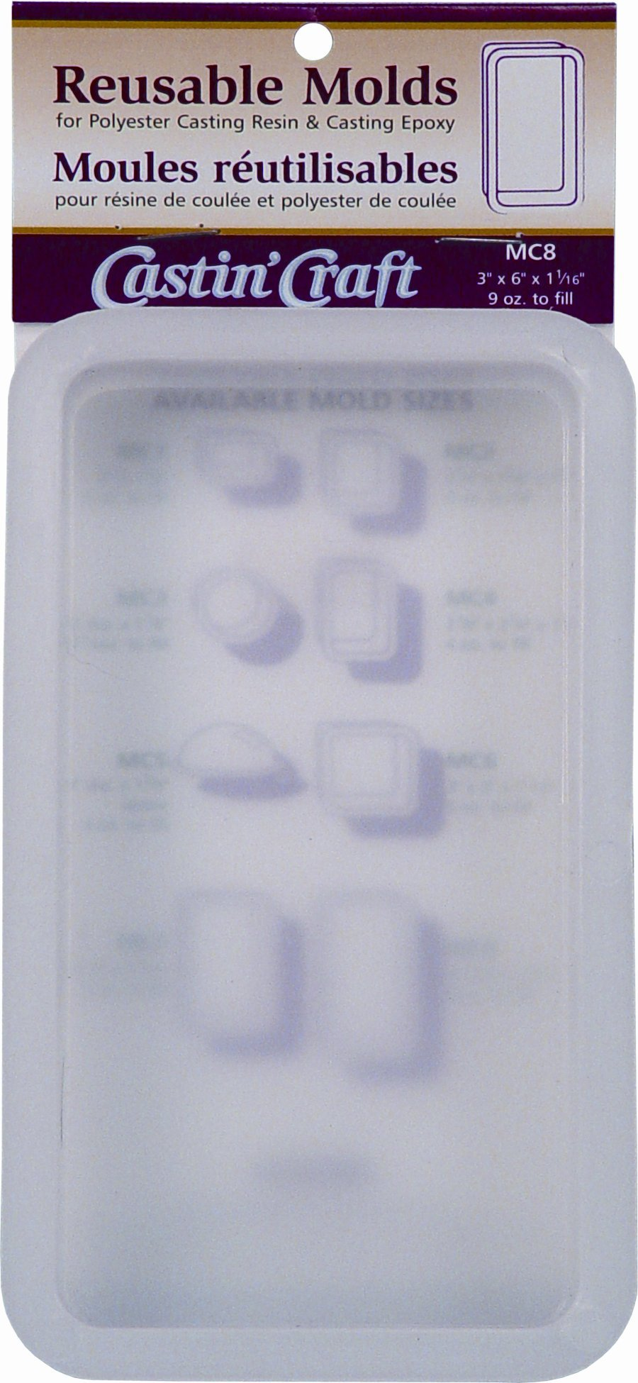 Environmental Technology 3-Inch by 6-Inch by 1-1/16-Inch Castin' Craft Carded Poly Mold, MC-8