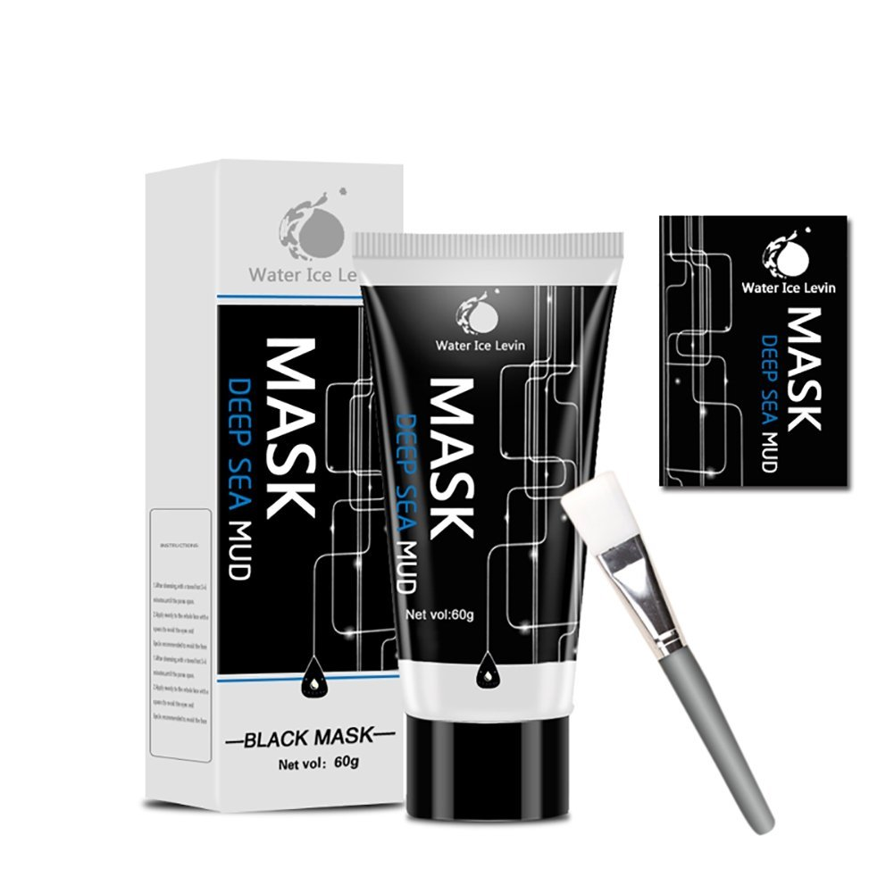 Black Mask, Blackhead Remover Mask, Blackhead Peel Off Mask, Deep Sea Mud Mask, Face Mask Peel-off and Brush Kit (A)