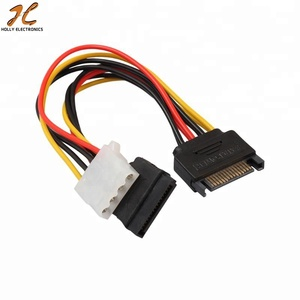 15PIN SATA Male to 4Pin IDE Molex Female + SATA Female Power Cable cord wire line for Motherboard and Hard disk 18cm