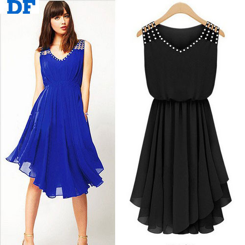 Get Quotations · Elegant Diamond Chiffon Summer Dress 2015 Hot Sale Blue  Pleated Party Dresses Vestido De Festa Plus f8c6a43e1