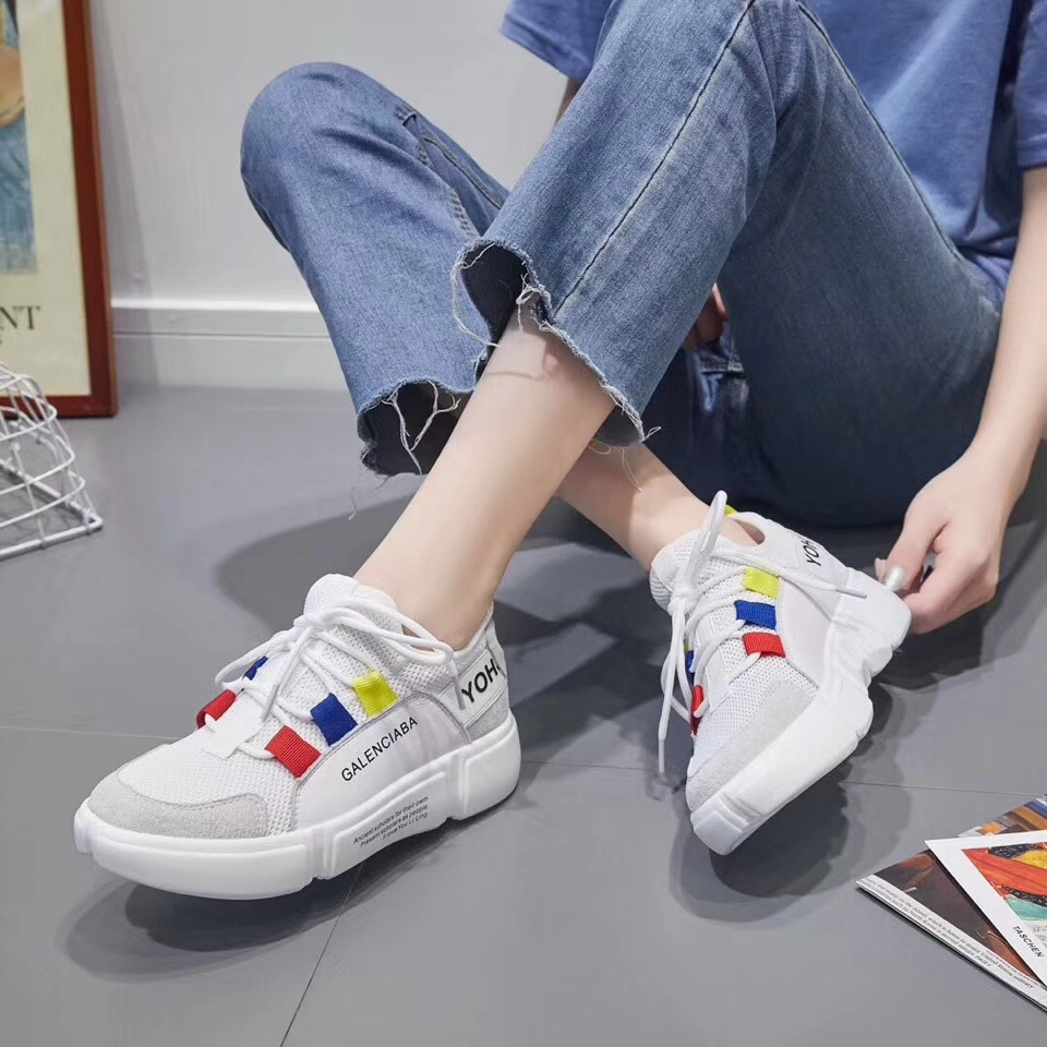 shoes casual mesh stitching Summer breathable running bottom comfortable leather new shoes yarn soft women's tide 7B7wnOx