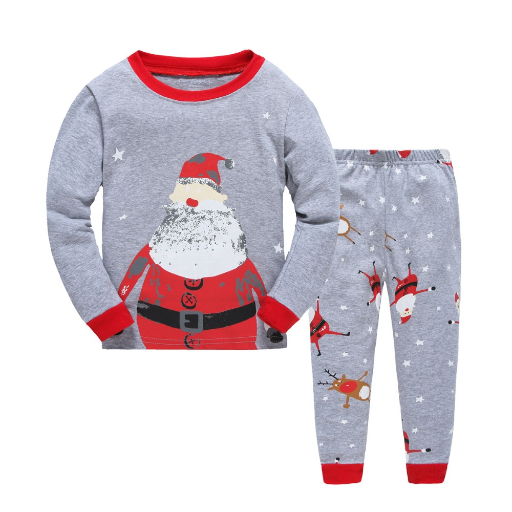 cotton latest high quality best nice Wholesale Winter Autumn Cotton Sets Kids Christmas Pajamas 2017