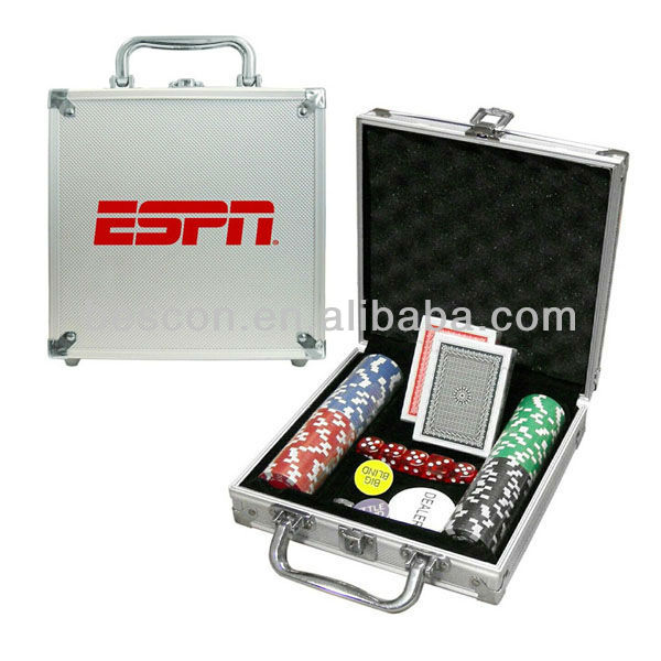 poker chip set 100 stuks poker chip aluminium behuizing set