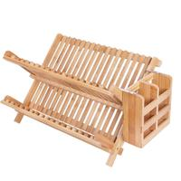 Unique Bamboo Dish Rack Collapsible Dish Drainer restaurant Premium Foldable Dish Drying Racks with Utensil holder 2-Tier Cheap