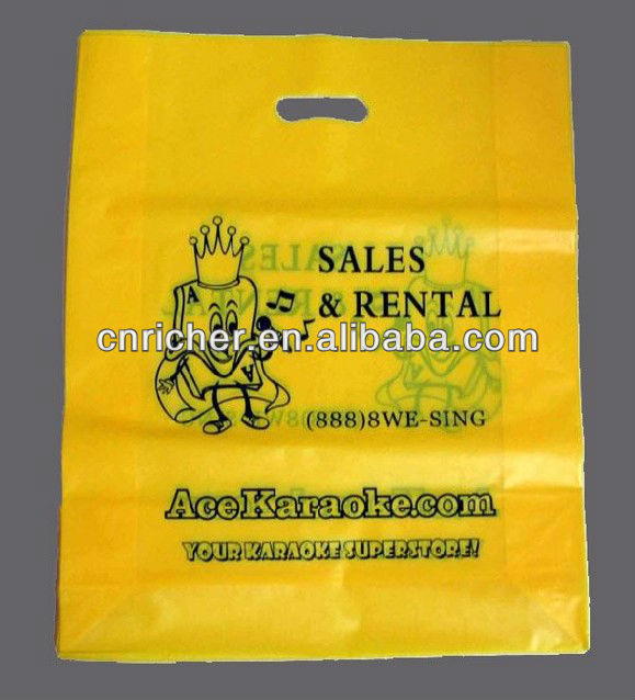 Yellow HDEP/LDPE die cut / punch handle toy / gift bag