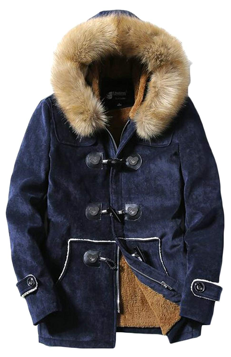 ARTFFEL Mens Fleece Fall /& Winter Warm Faux Fur Lined Quilted Jacket Coat Outerwear