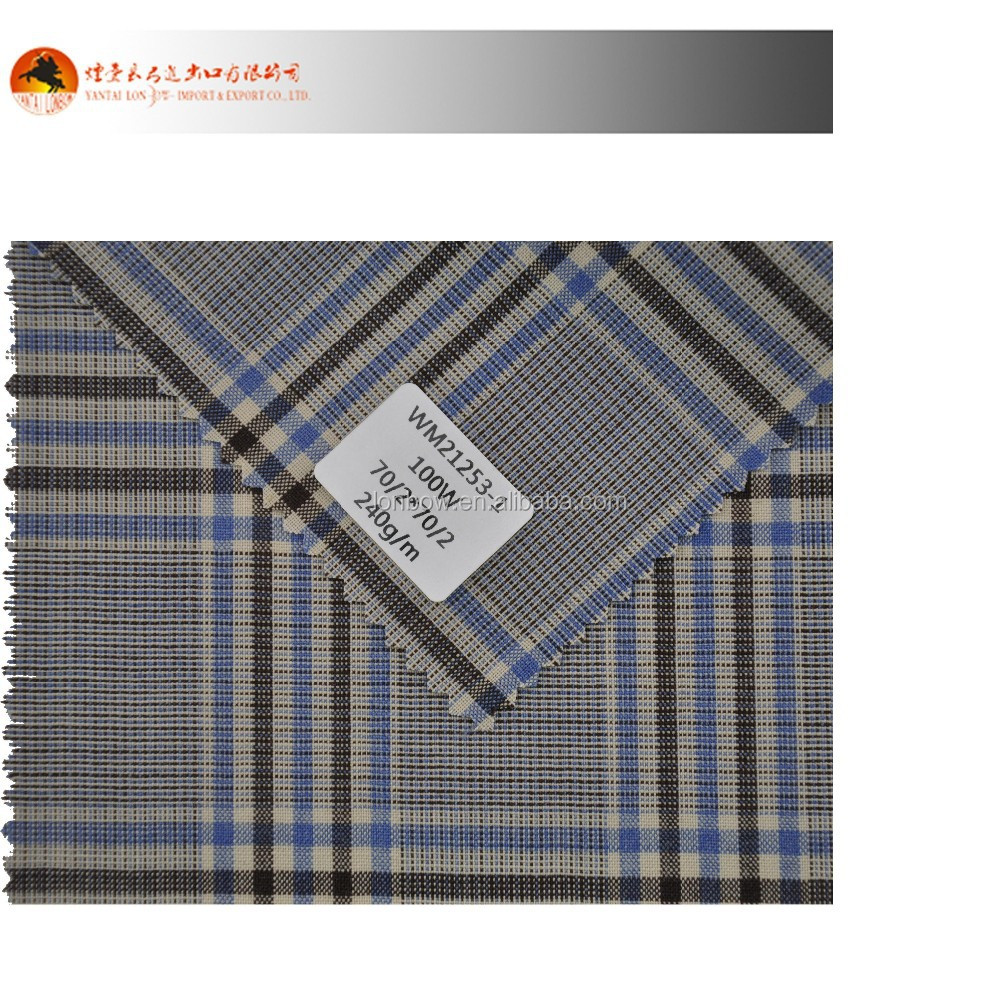 100% wool yarn dyed checked fabrics for shirt with ready stock