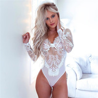 LA6067 Women Sexy Lace Transparent Long Sleeve Bodysuit