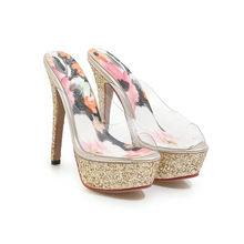 Meotina/Летняя обувь; Женские шлепанцы на прозрачной платформе; Обувь на тонком каблуке; Блестящие вечерние шлепанцы на очень высоком каблуке; ...(Китай)
