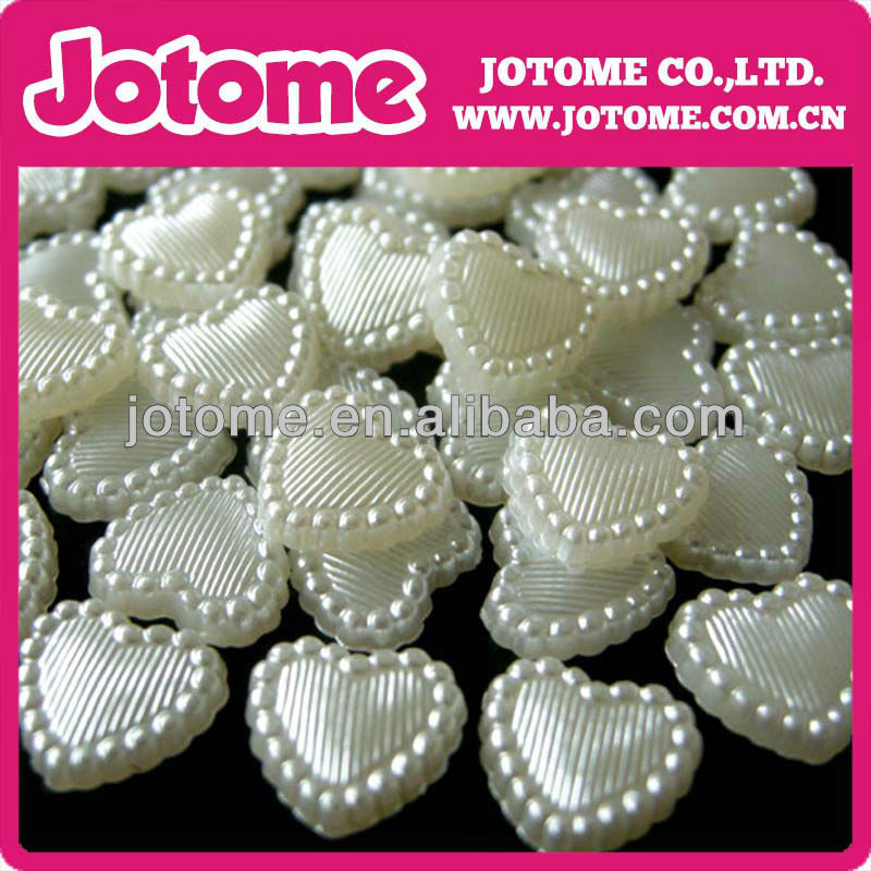 Lovely heart shape pearl beads!Hottest jewelry Ivory heart shape half pearl beads!Bulk heart shape jewelry imitation abs pearls!