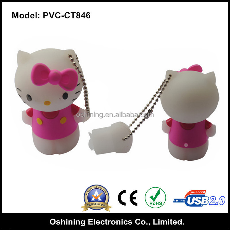 8gb animal pvc hello kitty usb 256 gb usb, pvc hello kitty shape usb flash 2tb (PVC-CT846)