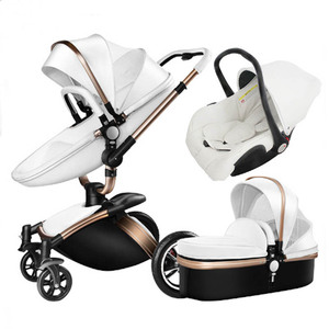2019 Aluminum Eco-friendly leather cover en1888 Travel Luxury baby stroller 3 in 1 for 0-3Year baby TS69
