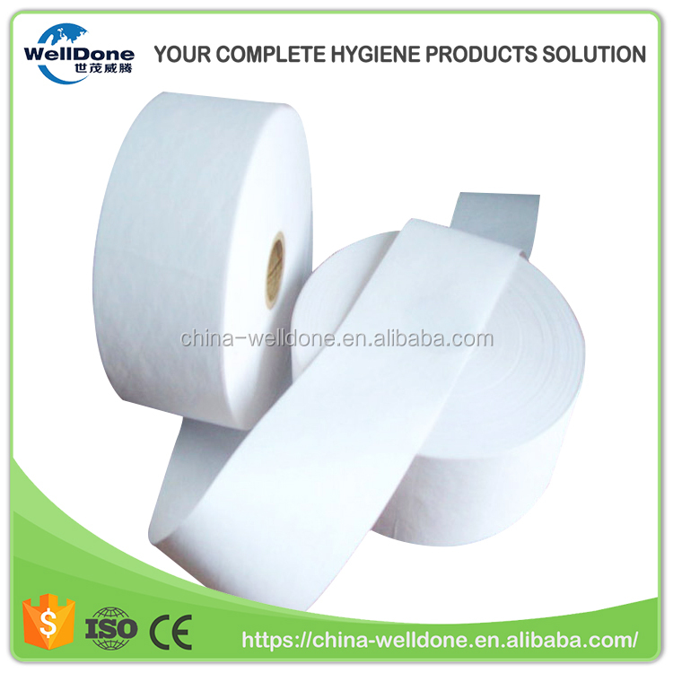 Jumbo roll absorbent embossed airlaid paper for sanitary pad