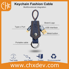 Length 20cm Denim Fabric Charger Data Sync USB C Cable Keychain For Samsung