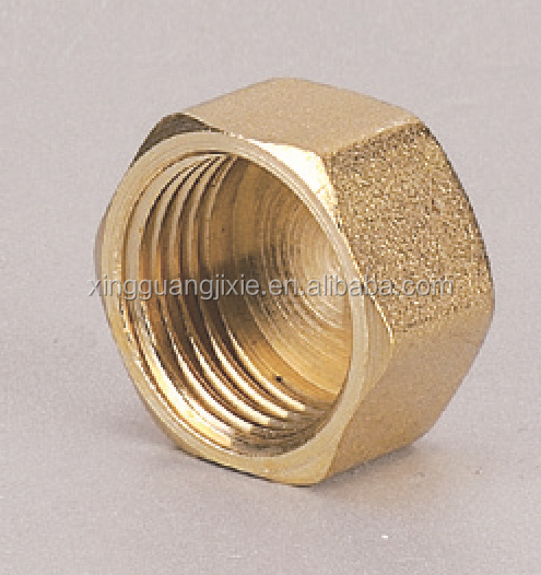 Brass pipe fitting threaded end cap