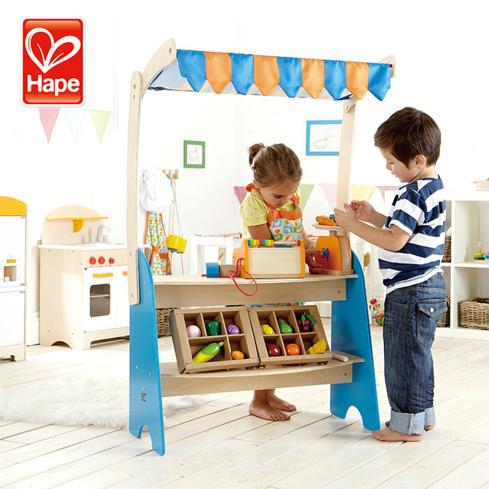 Hape pretend sell goods wooden toy market improve the ability of life