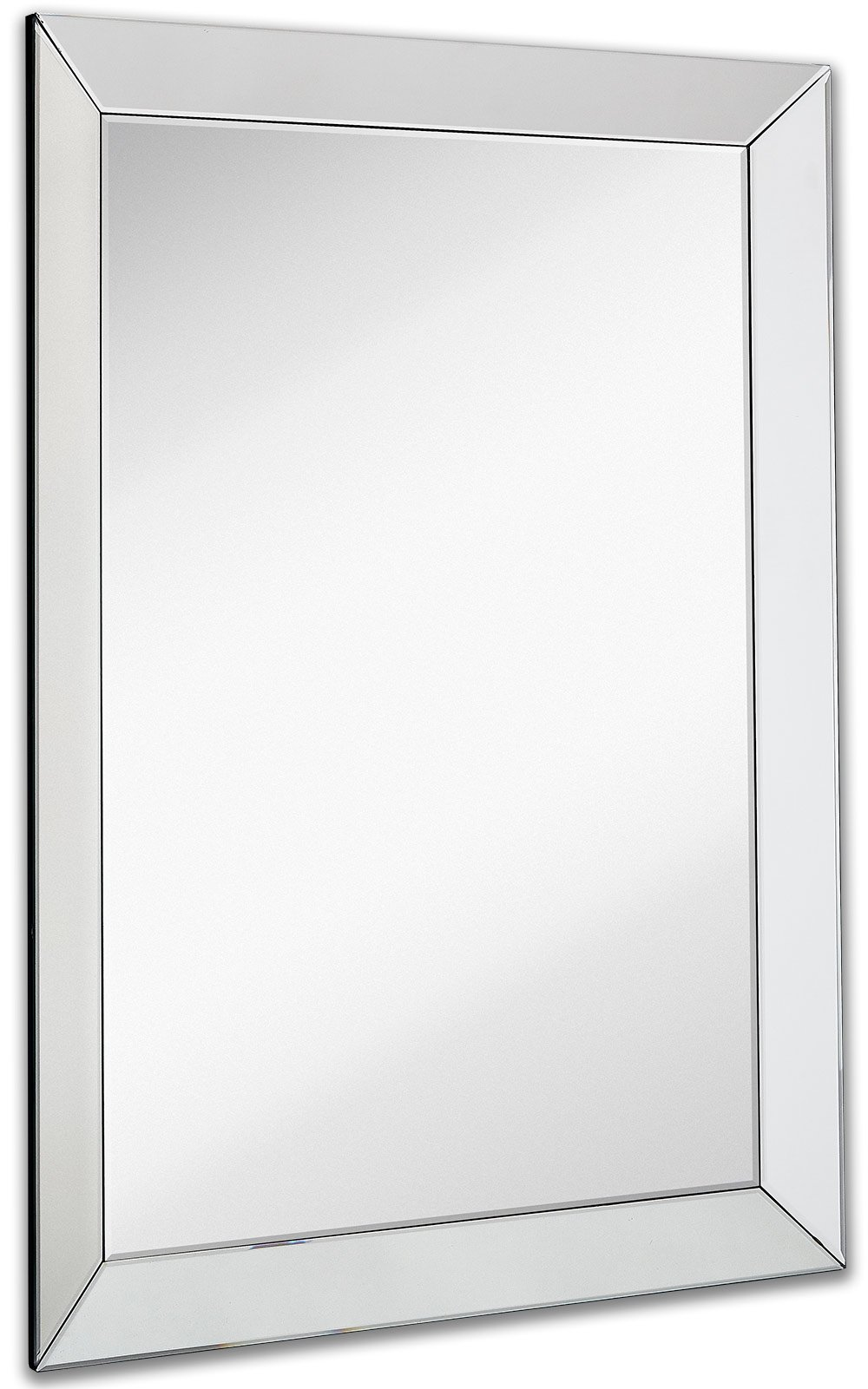 "Large Framed Wall Mirror with 3 Inch Angled Beveled Mirror Frame | Premium Silver Backed Glass Panel Vanity, Bedroom, or Bathroom | Mirrored Rectangle Hangs Horizontal or Vertical (30"" x 40"")"