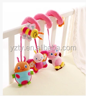 Hot sale baby's bed hanging decoration plush spiral