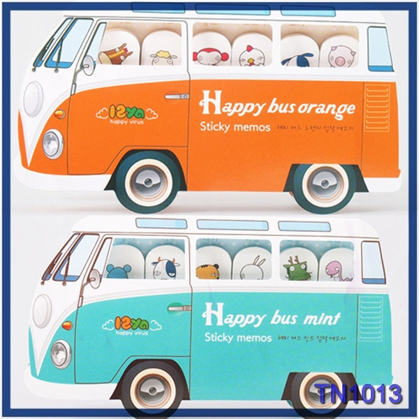 High Quality Korean stationery items for schools bus sticky memo pad car shape sticky notes