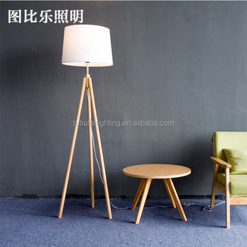 Modern Wood Floor Standing Lamps Fabric Lampshade Wooden Tripod