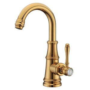 deck mounted single handle brass golden taps for wash basin