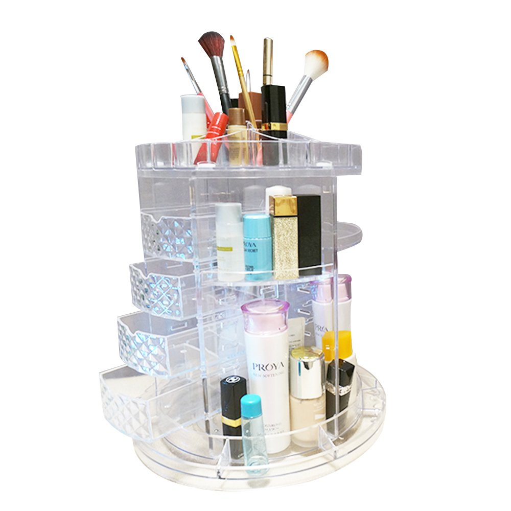 ANTS Acrylic 360 degree rotating makeup organizer, DIY Detachable Cosmetic Storage Display Boxes, Compact Size with Large Capacity, Fits Different Types of Cosmetics and Accessories.