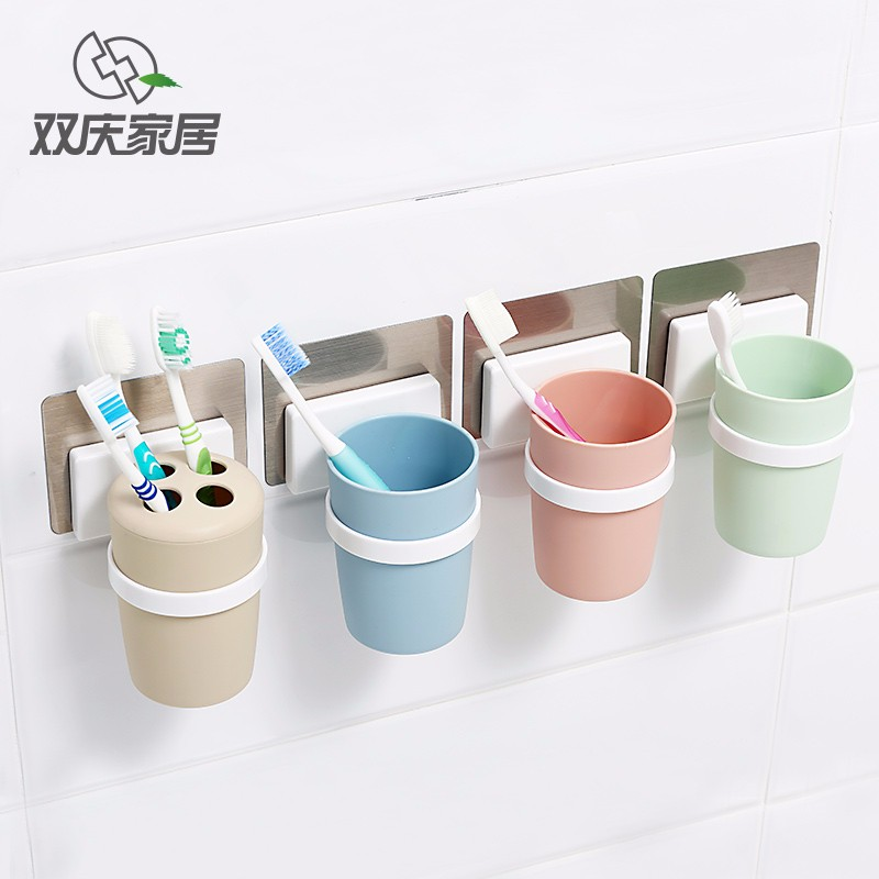 Easy Install Plastic Wall Mounted Toothbrush Cup Toothbrush Holder