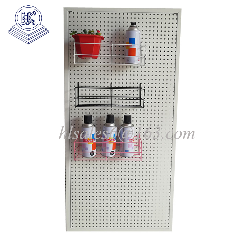 Metal  pegboard shelf with hanging basket