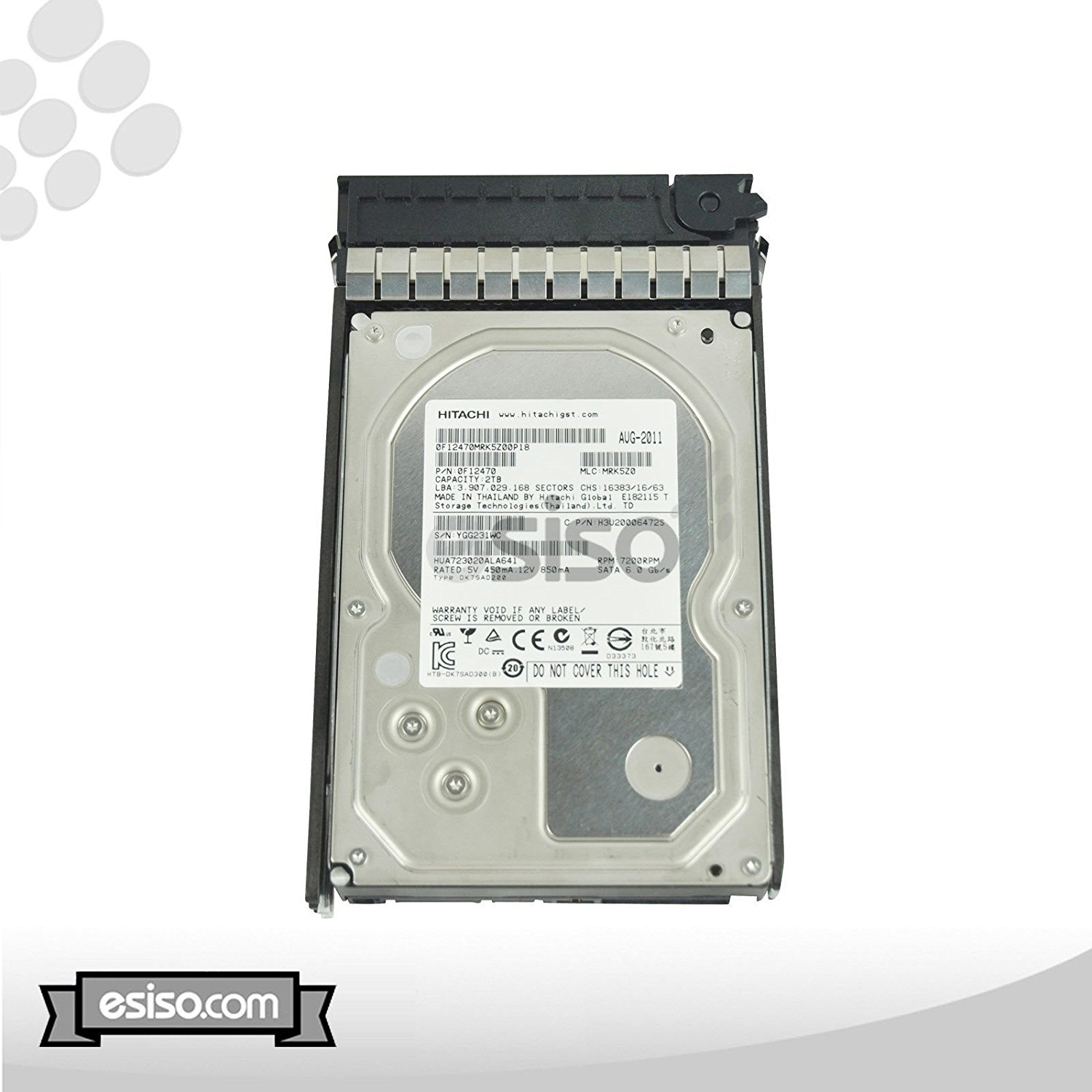 "HUA723020ALA641 Ultrastar 2TB 64MB 7200RPM 3.5"" SATA 6Gb/s Enterprise Hard Drive With HP Tray For Proliant DL385 G5 G6 G7 ML370 G6 DL160 DL185 DL180 DL120 DL165 DL380 G5 G6 G7 ML110 ML150 ML350 G5 G6"