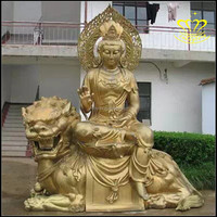Custom Antique Bronze Buddha With Lions Statues Of Fiberglass Resin Art