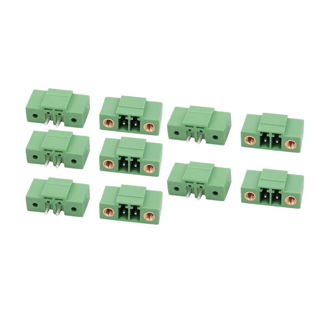 uxcell 10 Pcs LZ1VM AC300V 8A 3.5mm Pitch 2P PCB Terminal Block Wire Connection